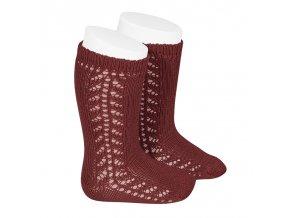 side openwork knee high warm cotton socks burgundy