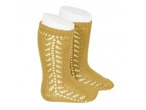 side openwork knee high warm cotton socks mustard