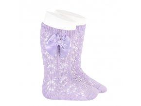 perle geometric openwork knee high socks with bow mauve