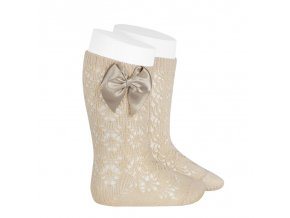 perle geometric openwork knee high socks with bow linen