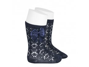 perle geometric openwork knee high socks with bow navy blue
