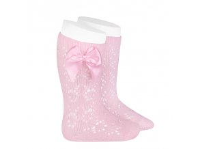 perle geometric openwork knee high socks with bow pink