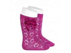 perle geometric openwork knee high socks with bow bugambilia