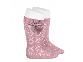 perle geometric openwork knee high socks with bow pale pink