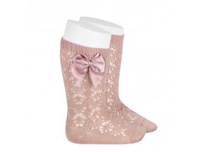 perle geometric openwork knee high socks with bow old rose