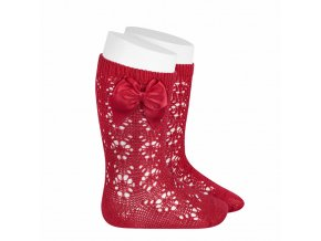 perle geometric openwork knee high socks with bow red