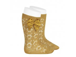 perle geometric openwork knee high socks with bow mustard