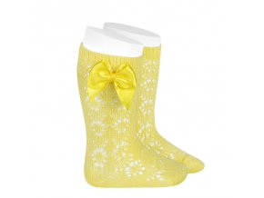perle geometric openwork knee high socks with bow limoncello
