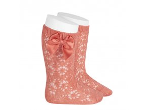perle geometric openwork knee high socks with bow peony