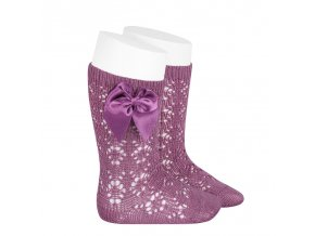 perle geometric openwork knee high socks with bow cassis