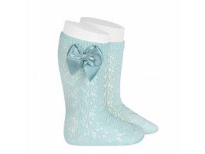 perle geometric openwork knee high socks with bow aquamarine