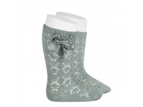 perle geometric openwork knee high socks with bow dry green