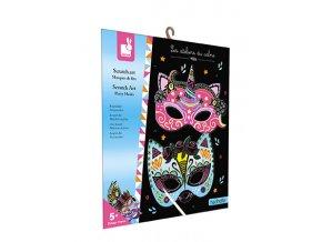 J07890 Janod vyskrabovacie obrazky party masky kreativna sada mini 01