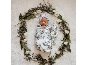 Bavlněná zavinovačka / šátek s čepičkou set Eucalypt