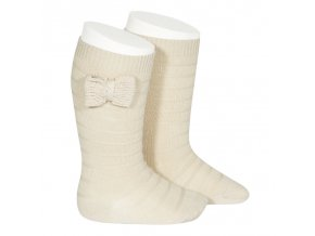 knee socks with knit bow linen