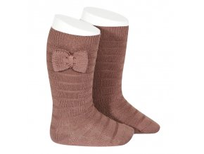 knee socks with knit bow praline