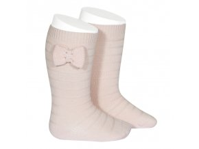 knee socks with knit bow pink