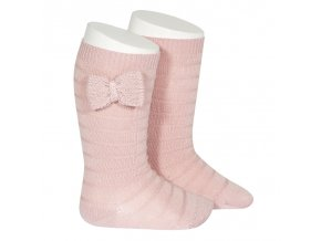 knee socks with knit bow pale pink
