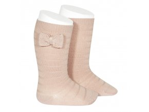 knee socks with knit bow old rose