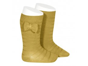knee socks with knit bow mustard