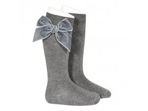 side velvet bow knee high socks light grey (1)