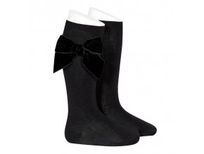 side velvet bow knee high socks black