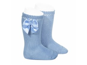perle knee high socks with bow bluish