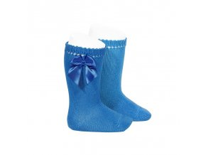 perle knee high socks with bow electric blue