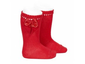 perle knee high socks with bow red