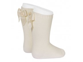 garter stitch knee high socks with bow linen