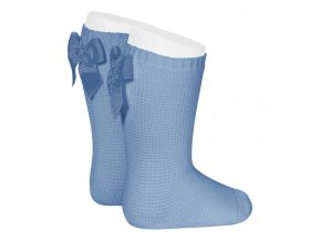 garter stitch knee high socks with bow bluish