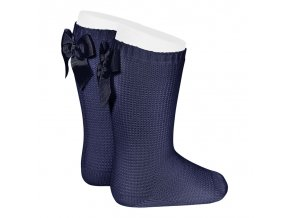 garter stitch knee high socks with bow navy blue