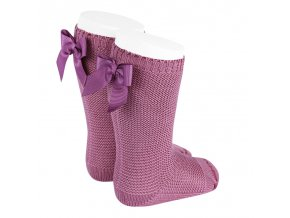 garter stitch knee high socks with bow cassis