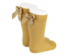 garter stitch knee high socks with bow mustard