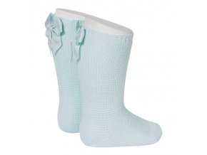 garter stitch knee high socks with bow aquamarine
