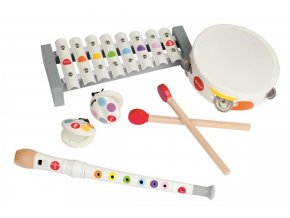 J07600 Drevena sada hudobne nastroje pre deti Confetti Janod flauta tamburina xylofon kastanety a