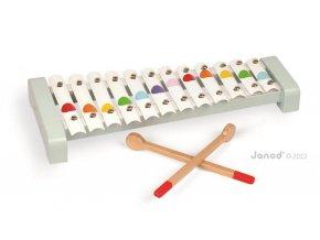 J07604 Detsky kovovy xylofon pre deti Confetti Janod od 2 rokov s nadhernym zvukom a
