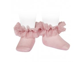 frill tulle ankle socks pale pink