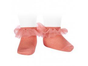 frill tulle ankle socks peony