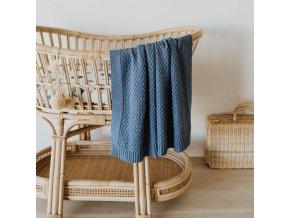 Pletená novorozenecká deka modrá