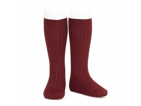 wide rib knee high socks burgundy