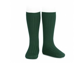 wide rib knee high socks bottle green
