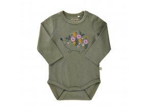 Minymo novorozenecké dívčí body s dlouhým rukávem GOTS 111351-9312