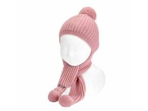 bonnet echarpe point anglais pale rose