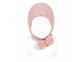 bonnet avec bandes longues pompom pale rose (1)