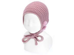 bonnet relief horizontal et mini pompoms pale rose