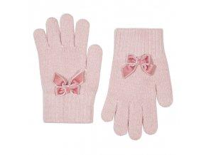 guantes suaves calidos con lazo terciopelo rosa palo