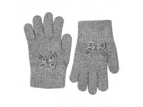 guantes suaves calidos con lazo terciopelo gris claro