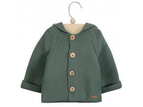chaqueton con capucha en punto bobo verde liquen