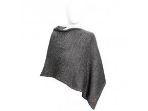 poncho lana merino mezcla gris medio